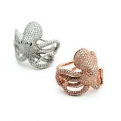 Paved Octopus with Pink Diamonds & Colorless by Christian Tse