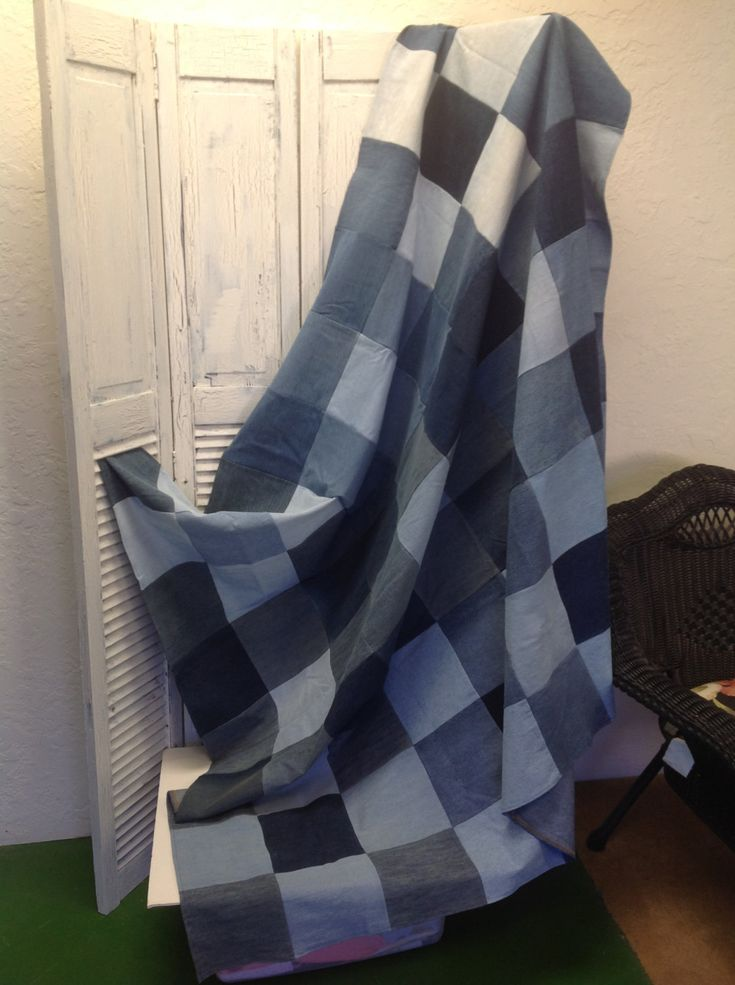 Upcycled Denim Picnic or Utility Blanket or Quilt (QA08) by GrandmaRietas on Etsy