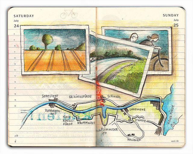 Nice Moleskin by Kathrin Jebsen-Marwedel I love the color and layout of all this artist's pages. Worth some time at her Flickr site.