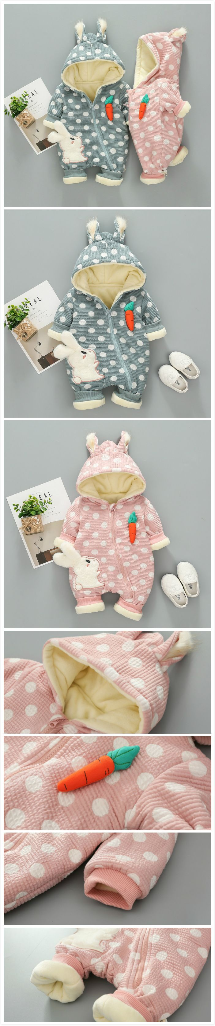 Thicker Cute Rabbit Baby Winter Warm Hooded Jumpsuit