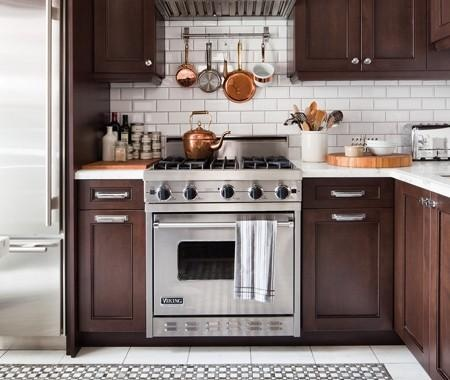 Virtually Perfect Balance of wood + marble + subway tile + copper kitchen + stainless steel appliance: Not overly done with one material
