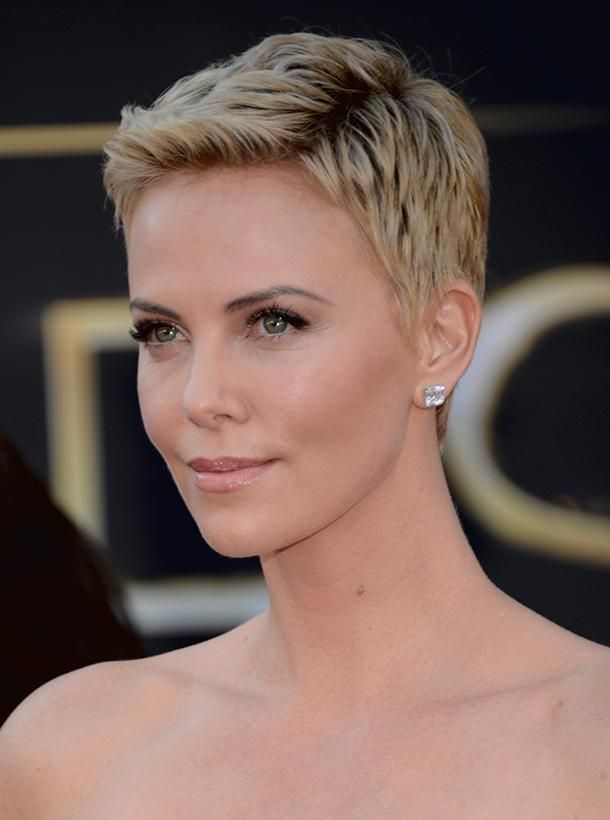 """Charlize Theron pixie cut - She famously shaved her head (by herself!) in 2012 for her role in """"Mad Max"""""""