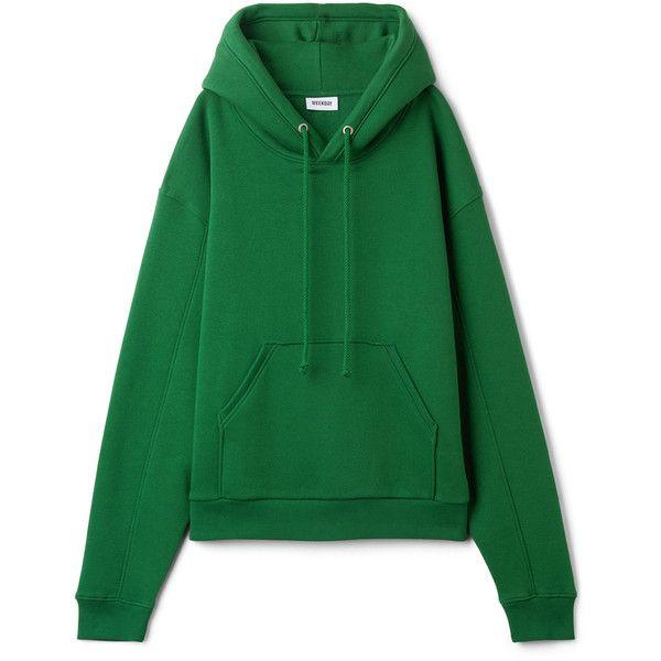 Ailin Hooded Sweatshirt - Dark Green - Hoodies & sweatshirts - Weekday ($35) ❤ liked on Polyvore featuring tops, hoodies, green top, hooded sweatshirt, hooded top, dark green hoodie and oversized hoodie