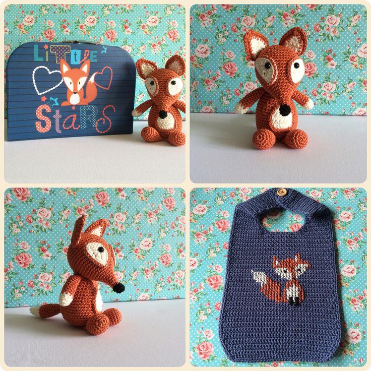 Amigurumi Little fox and bib  Made by Kriziwizi. Kriziwizi@hotmail.com