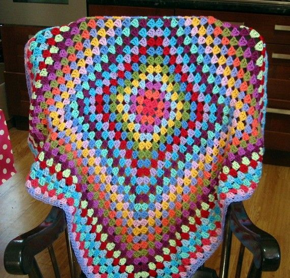 Sublime Vibrant Rainbow Granny Square Blanket FREE by Thesunroomuk, £45.00