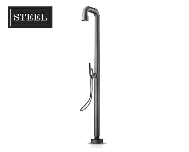 Freistehende Design Stand Duscharmatur Black Steel mit Handbrause