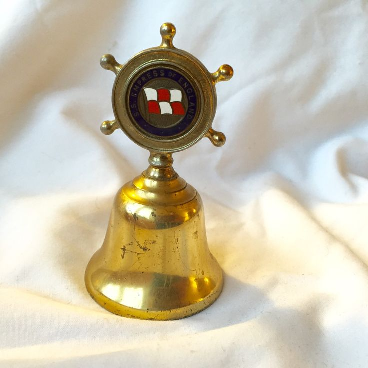 s. s. EMPERESS OF ENGLAND Nautical Captains Wheel Ships Wheel Blue Enamel Solid Brass Ship's brass bell by StudioVintage on Etsy