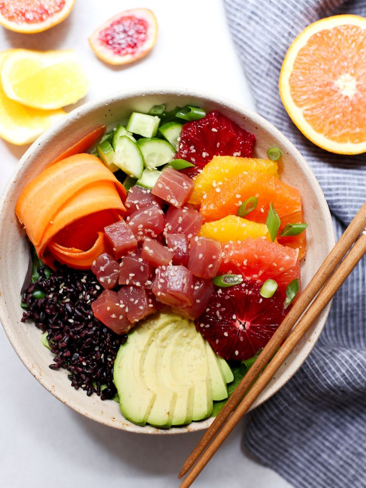 The beautiful, bold colors of winter citrus inspired this protein and veggie packed poke bowl with an orange-based ponzu sauce. Delicious and easy!
