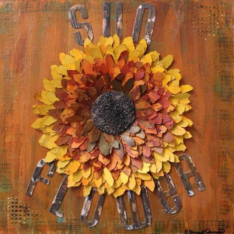 Gotta love a sunflower- https://www.etsy.com/listing/214706080/mixed-media-sunflower-canvas-sunflower