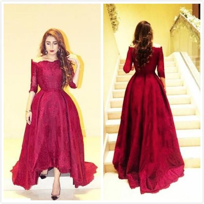Elegant Red Lace Evening Dresses with Sleeves 2016 Myriam Fares Dresses Hi Low Off Shoulder Arabic Dress Party Prom Ball Gowns