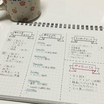 書き出す単位は、ライフスタイルに合わせて書き出してみるとあとから予定が組みやすくなります。  □毎日やること □曜日ごとにやること □その他やること □これからやってみたいこと  といった風に「やること」を書き出してみましょう☆ (筆者撮影)