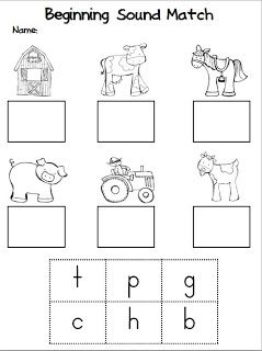 "Beginning Sound Match (free worksheet from Unit , ""Fun on the Farm; by Kindergarten Stars)"