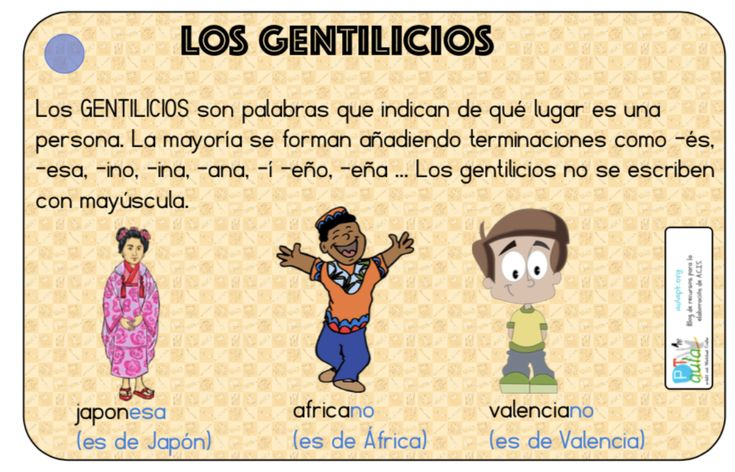 Aprende Los Gentilicios Educacion Primaria Ejercicios De Sustantivos Sustantivos Adjetivos Y Verbos