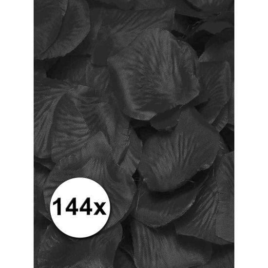 Luxe zwarte rozenblaadjes. Mooie zwarte rozenblaadjes. Inhoud: 144 rozenblaadjes. Materiaal: dun stof. Formaat: circa 3 bij 3 cm. De rozenblaadjes kunnen gebruikt worden om mee te strooien, maar ook ontzettend leuk om de bruidstafel mee te versieren!