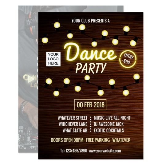 Club DJ Dance Music Party add logo and photo Card
