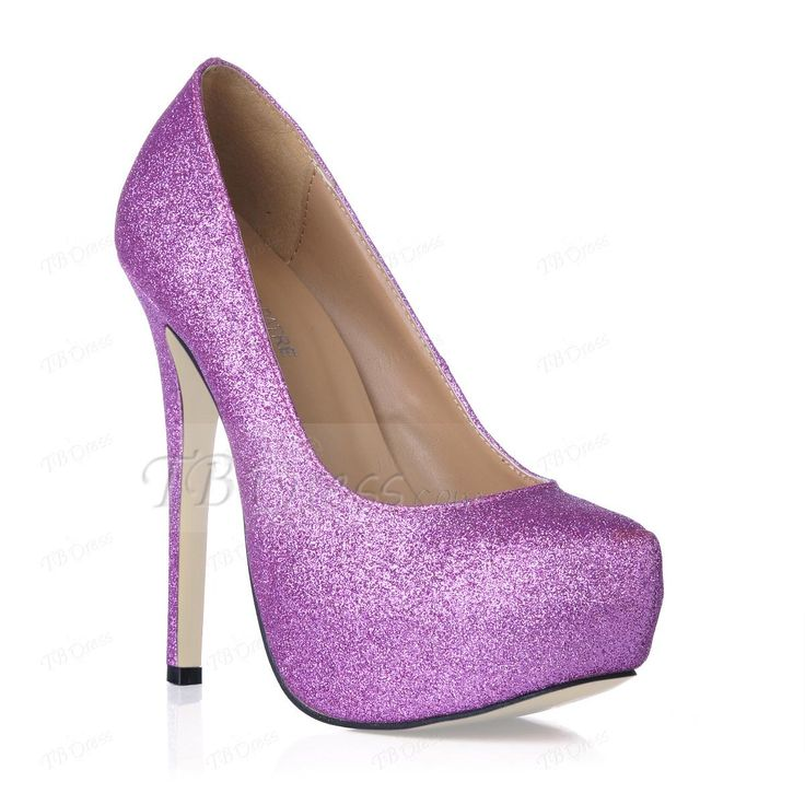 Elegant Purple Platform Stiletto Closed-toes