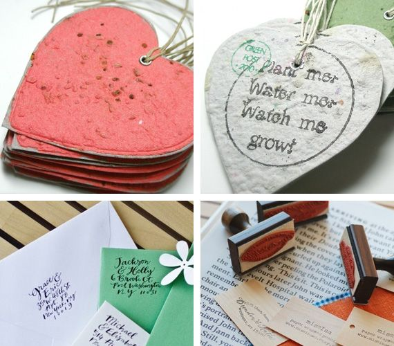Recycled paper plantable hearts as favors
