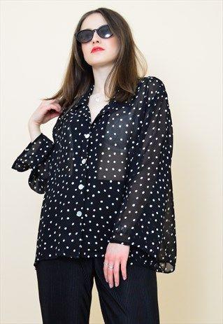 Vintage+90s+sheer+black+and+white+polka+dot+shirt