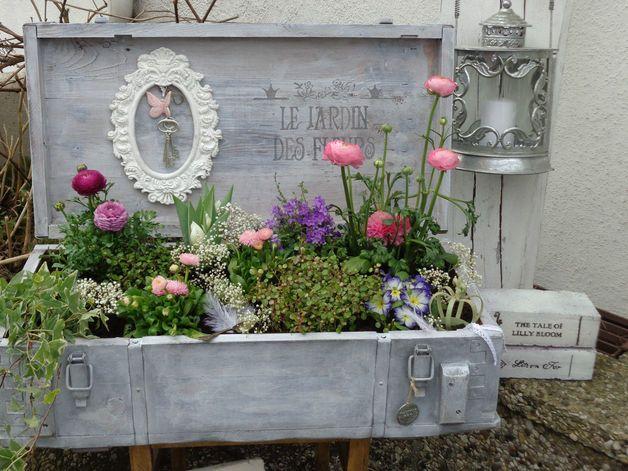 """Blumentöpfe - Vintage Pflanzkasten """"French Shabby"""" Minigarten Kr - ein Designerstück von Kistenjack bei DaWanda"""