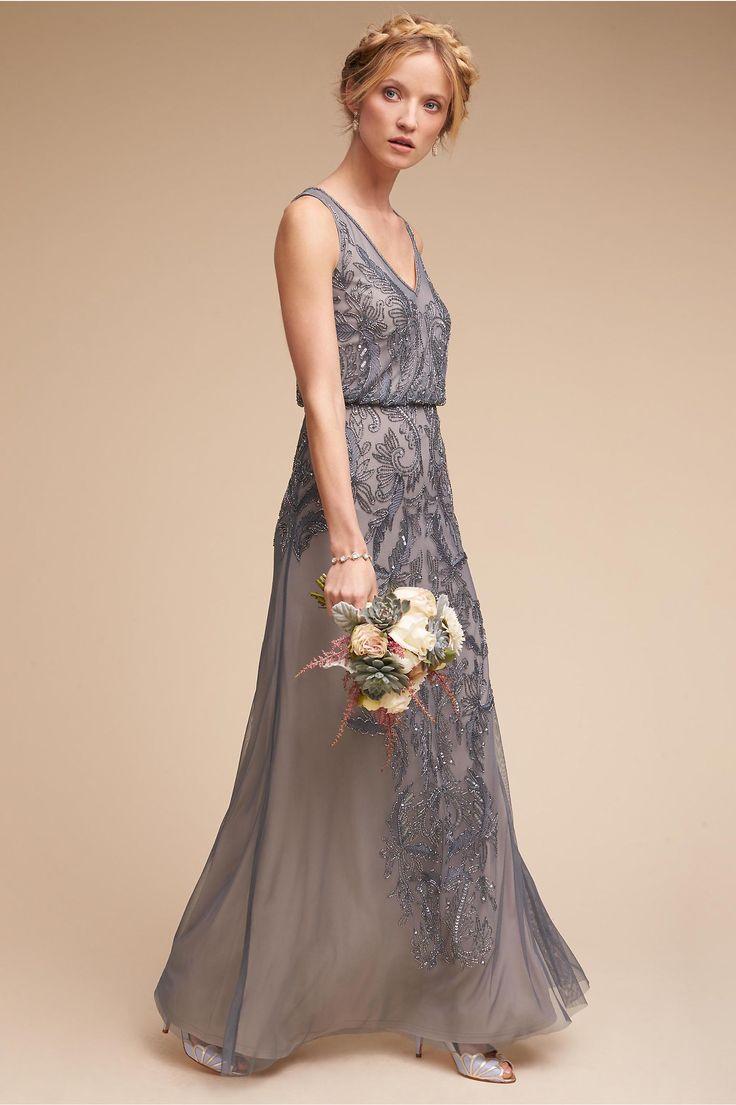 BHLDN's Adrianna Papell Aubrey Dress in Pewter