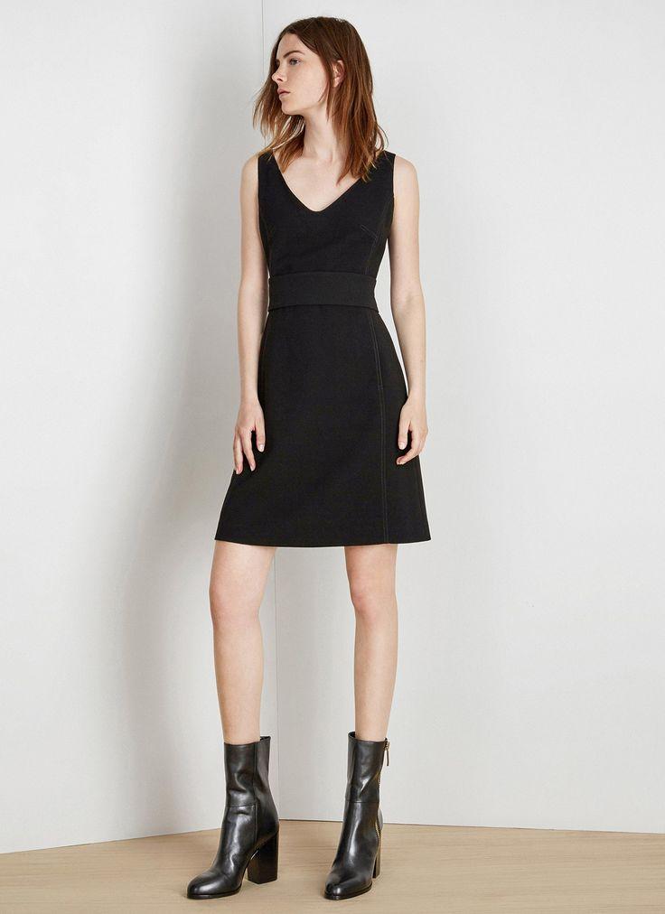 Vestido negro con corte lady - Vestidos | Adolfo Dominguez shop online