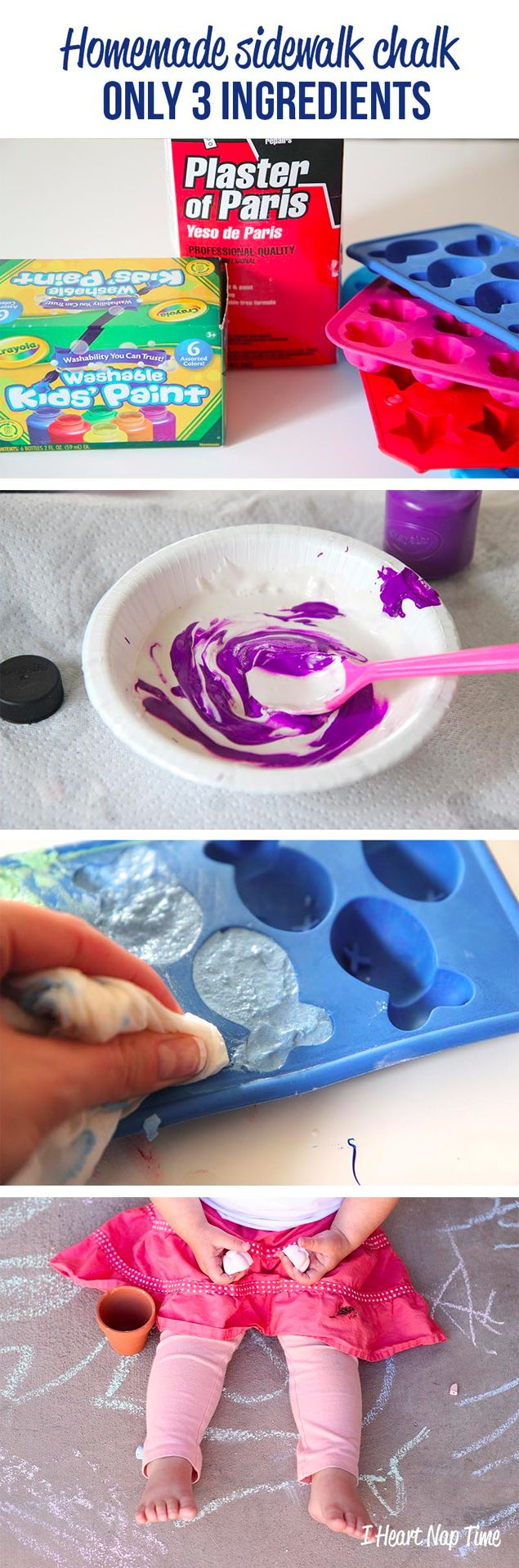 make your own sidewalk chalk - fun shapes and colors.