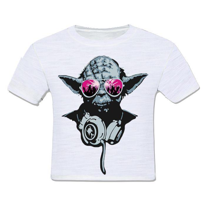 camiseta infantil moda criança yoda pop fone de ouvido óculos star wars guerra nas estrelas