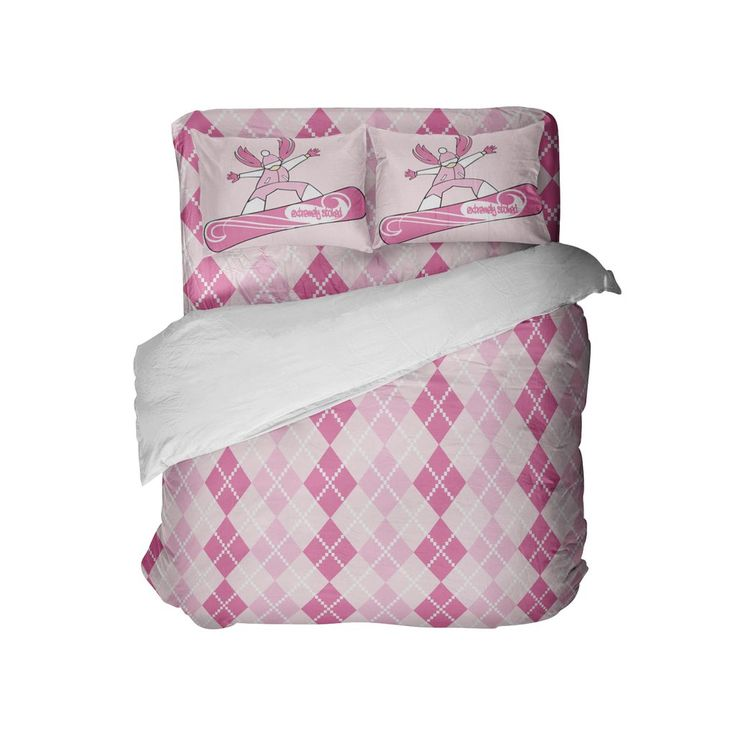 Preppy Pink and White Argyle Comforter Set with Snowboard Girl Pillowcases from Kids Bedding Company