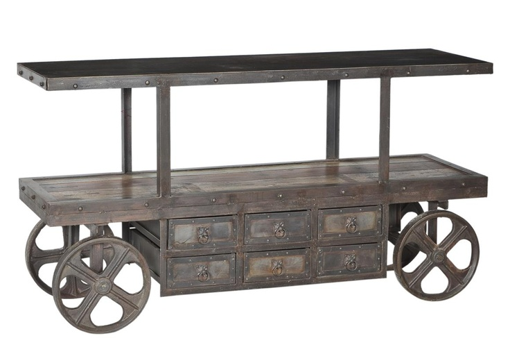 Original Industrial Wheel Cart with 6 Iron Drawers.
