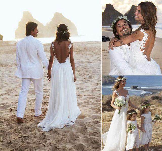 Vestido de boda de playa 2015 de moda Appliqued gasa vestido de boda con espalda abierta Sexy summer Beach Vestidos de novia Vestidos de novia