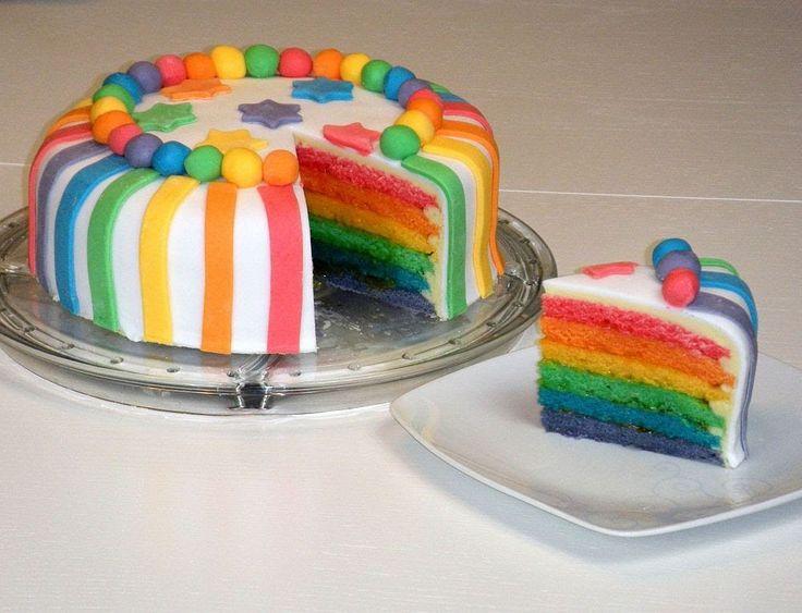 Rainbow Cake/Rainbowcake/Regenbogenkuchen (mit weißer Schokoladen-Ganach...