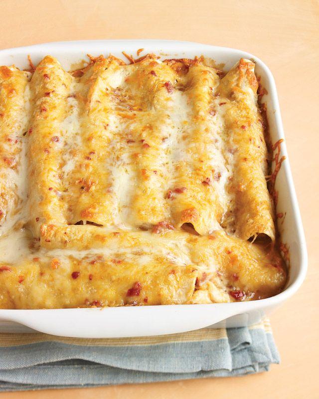 Lighter Chicken Enchilladas, yum: Food Recipes, Lighter Chicken, Mexicans, Enchilada Recipes, Healthy, Dinners Ideas, Yummy, Martha Stewart, Chicken Enchiladas Recipes