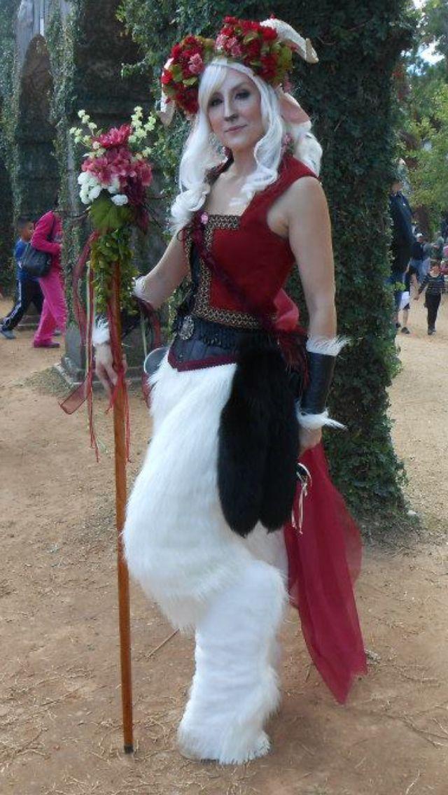 white satyr costume for the Texas Renaissance festival.