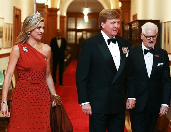 King Willem-Alexander and Queen Maxima  attended the state dinner hosted by Governor General Dame Patsy Reddy in the Porrit Room at Government House on Nov 7, 2016 in Wellington, New Zealand. Queen Maxima wore Claes Iversen Dress.