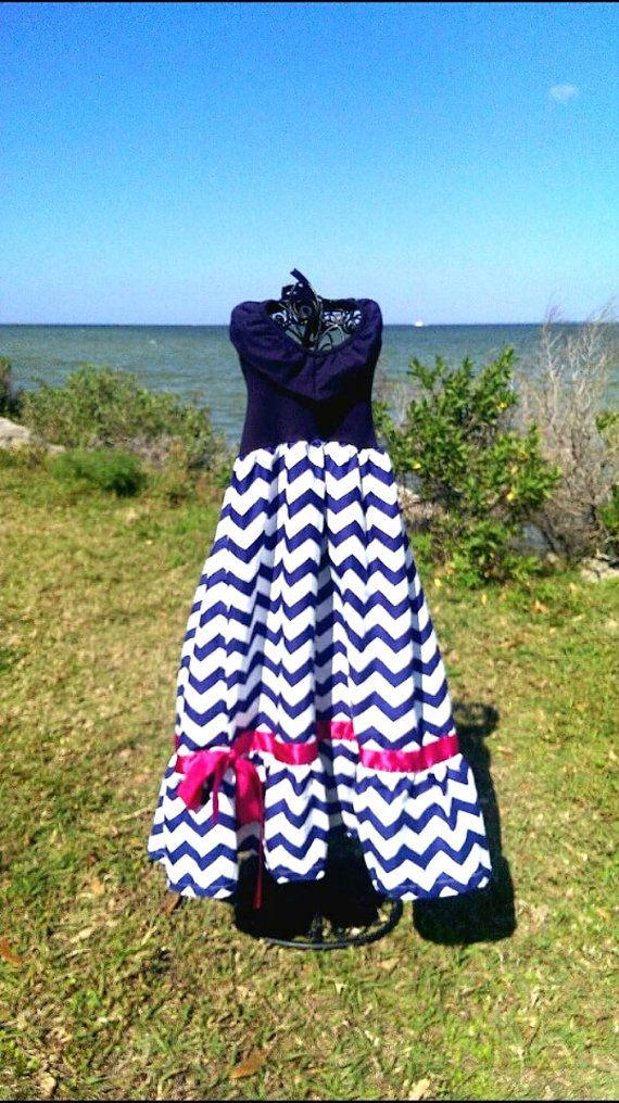 Girls Custom Chevron Print Dress In Navy Blue by AdalynsBoutique, $36.99