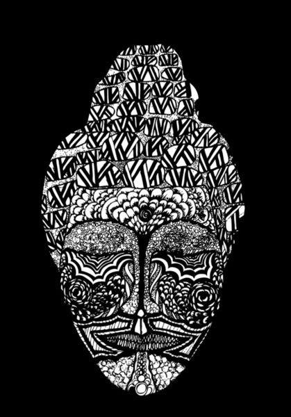 'Buddha in Black & White' by Lindsay Kokoska on artflakes.com as poster or art print $19.41