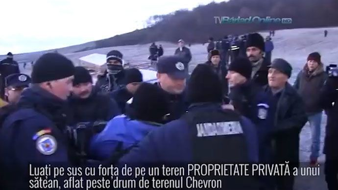 Romanian police brutally remove protesters opposed to Chevron fracking http://rt.com/news/romania-shale-gas-chevron-652/