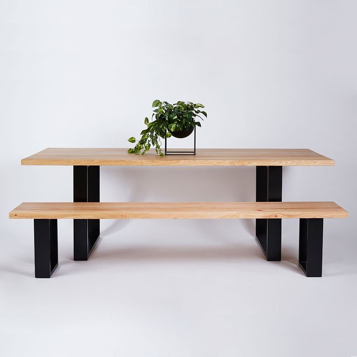 Industrial meets contemporary with the Pyrmont Dining Table. Crafted from a solid Elm timber top on a black powder coated stainless steel frame, this dining table is available in a range of sizes and colours.-Designed by Urban Couture Design+Homewares