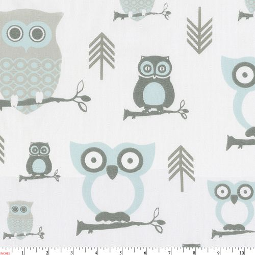 Mist and Gray Owls Fabric by the Yard | Gray Fabric | Carousel Designs