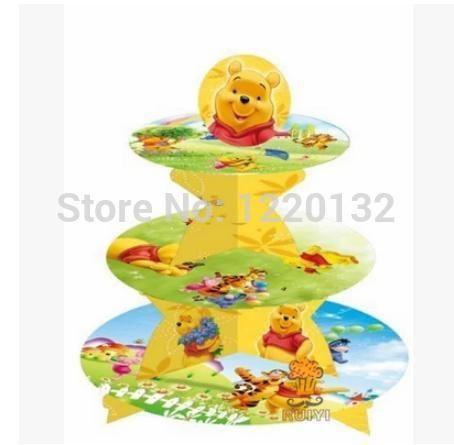 1 комплект комикс винни день рождения младенцы душ ну вечеринку картон кекс стойка держать 24 кексы купить на AliExpress