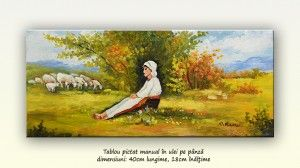 poza Păstorița - pictură peisaj rural, ulei pe pânză, 40x18cm