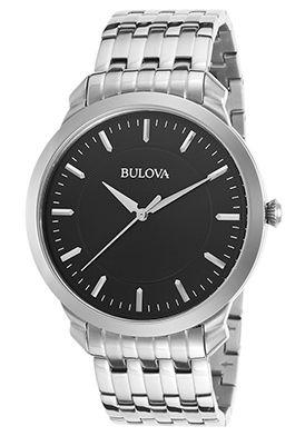 Bulova Men's Dress Stainless Steel Black Dial w/o Logo