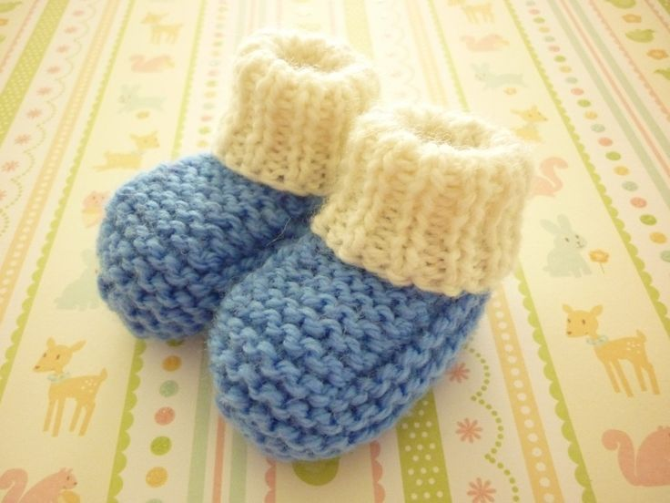 These knitted baby bootees would be nice in an adult size!