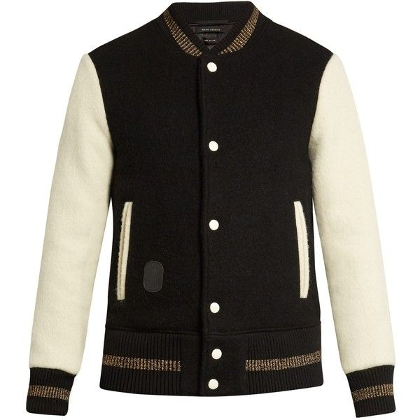 Marc Jacobs Contrast-sleeve wool bomber jacket ($546) ❤ liked on Polyvore featuring men's fashion, men's clothing, men's outerwear, men's jackets, jackets, mens wool jacket, mens white bomber jacket, men's wool bomber jacket, mens white jacket and mens short sleeve jacket