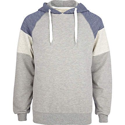 Grey colour block hoodie - loungewear - loungewear / all in ones - men