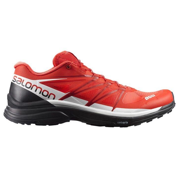 Zapatillas trail running de la gama S-LAB de Salomon, S-LAB Wings para  hombre en colores rojo, blanco y negro. Este modelos de zapatillas de  Salomon está ...