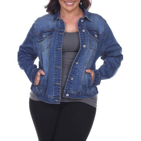 White Mark - Women's Plus Size Denim Jacket - Walmart.com