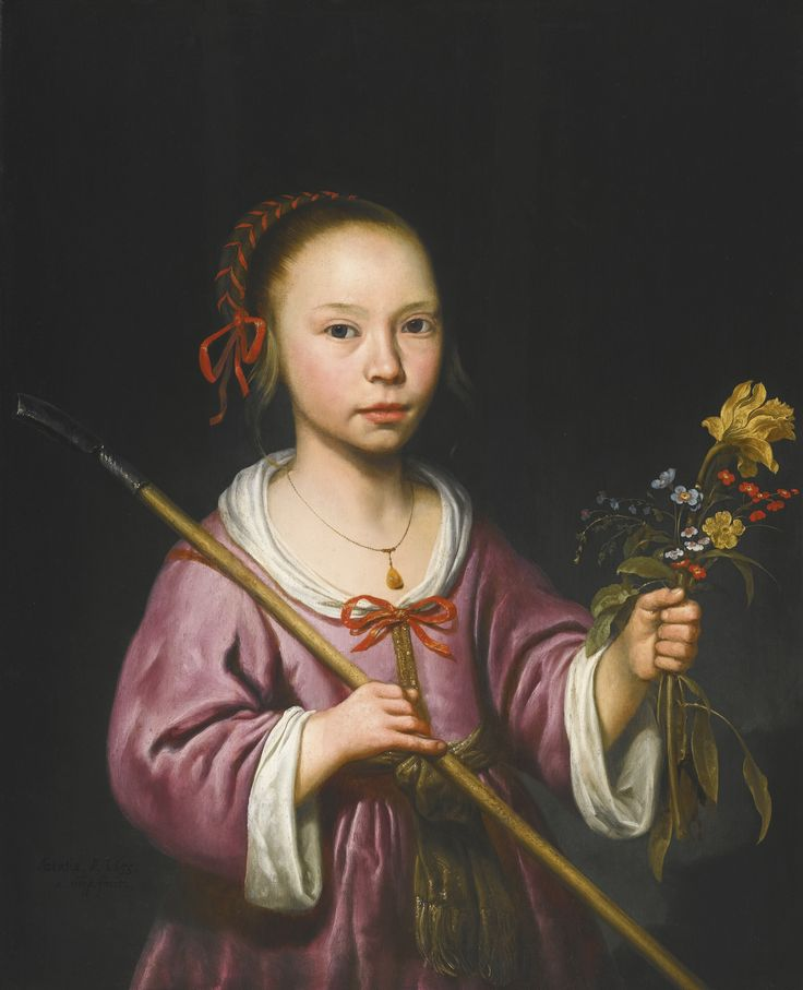 Aelbert Cuyp DORDRECHT 1620 - 1691 PORTRAIT OF A YOUNG GIRL AS A SHEPHERDESS, HOLDING A SPRIG OF FLOWERS