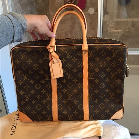 Louis Vuitton Porte briefcase Authentic LV briefcase used ONCE! Excellent condition. For lap top or documents. Only flaw is an oil stain on a bottom corner, pictured. Comes with dust bag Louis Vuitton (Favorite Louis Vuitton)