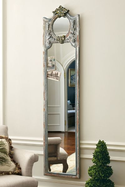 Lyons Mirror - French Style Full Length Mirror, Armoire Door Mirror | Our Lyons Mirror puts other full-length mirrors to shame with its polished look and style. It is hand carved of solid mango wood and hand rubbed with a light antique grey pigment so the warm wood shows through. | Soft Surroundings
